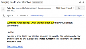 email marketing persuasivo escasez