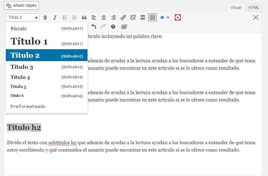 Marcado de encabezados en wordpress